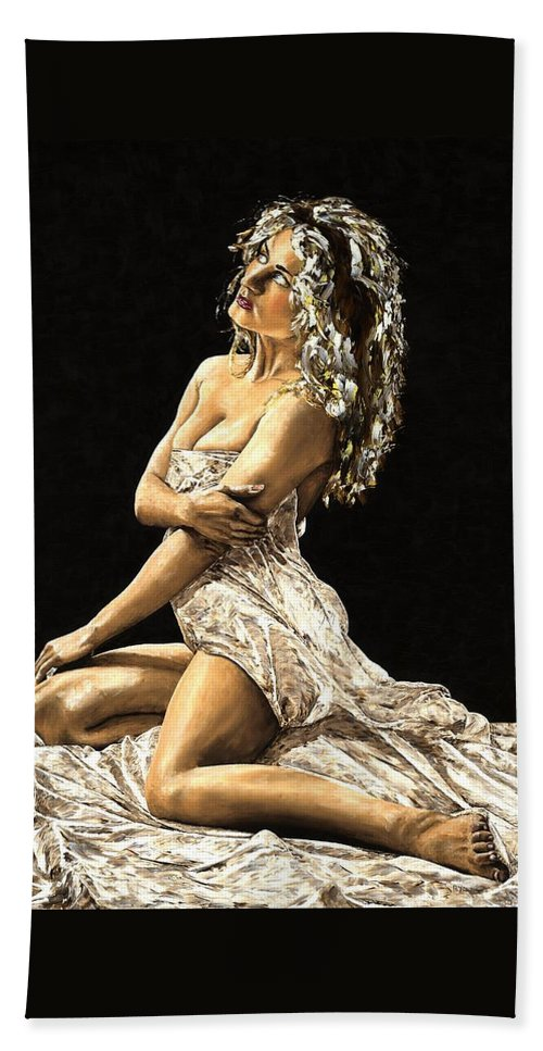 Nude Beach Towel featuring the painting Luminous by Richard Young