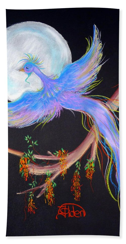 Luna Beach Towel featuring the pastel Luna Phoenix by Jo Hoden