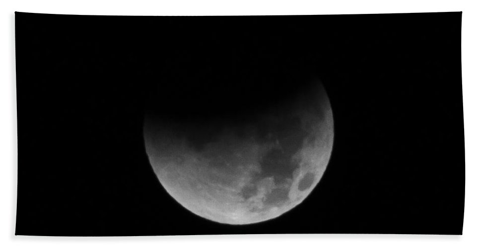 Lunar Beach Towel featuring the photograph Lunar Eclipse - Middle by Colleen Coccia