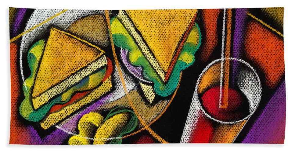 Bowl Close Up Color Image Concept Convenience Dinner Food And Drink Fork Grape Hamburger Illustration Illustration And Painting Lunch Macaroni Macaroni And Cheese Nobody Sandwich Square Image Still Life Variety Assortment Bread Close-up Color Colour Cutlery Drawing Food Fruit Ground Beef Meal Mince Pasta Square Still-life Abstract Painting Decorative Art Beach Towel featuring the painting Lunch by Leon Zernitsky