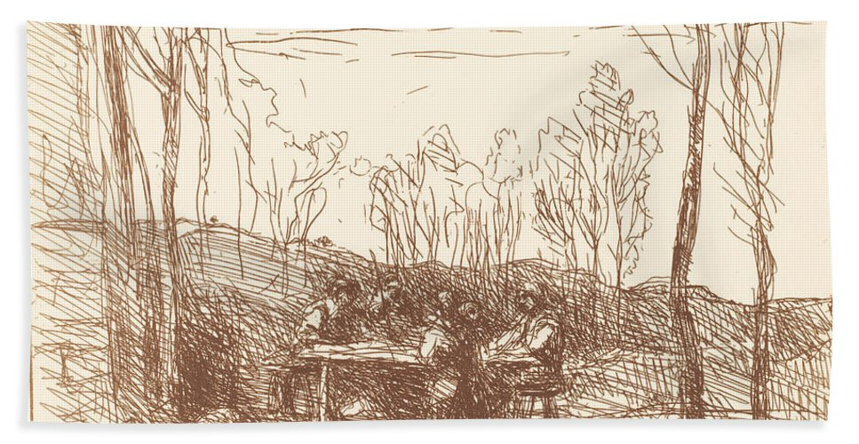 Beach Towel featuring the drawing Luncheon In A Clearing (un Dejeuner Dans La Clairiere) by Jean-baptiste-camille Corot