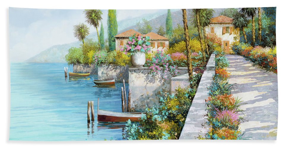 Lake Beach Sheet featuring the painting Lungolago by Guido Borelli