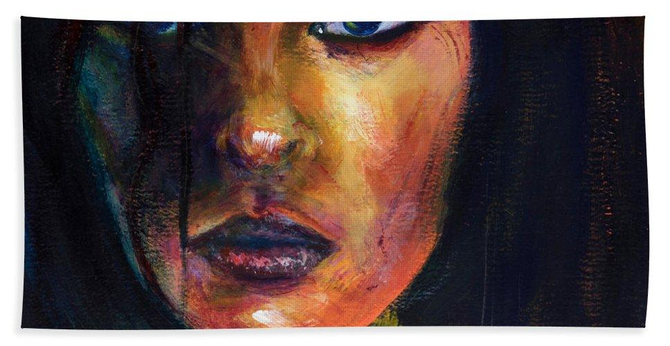 Dark Beach Towel featuring the painting Lupina by Jason Reinhardt