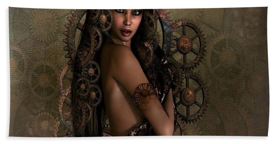 Steampunk Beach Towel featuring the mixed media Luxurious Steampunk by G Berry