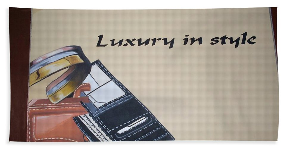Bags Beach Towel featuring the painting Luxury Items by Olaoluwa Smith