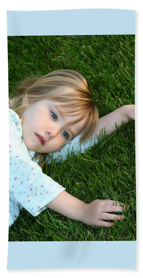 Girl Beach Towel featuring the photograph Lying In The Grass by Margie Wildblood