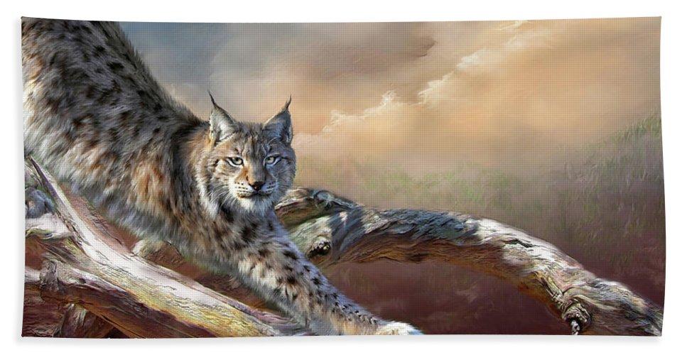 Lynx Beach Towel featuring the mixed media Lynx Spirit by Carol Cavalaris