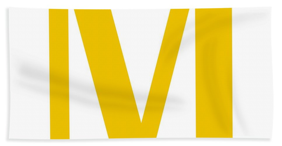 M Beach Towel featuring the digital art M In Mustard Typewriter Style by Custom Home Fashions