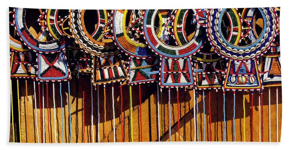 Africa Beach Towel featuring the photograph Maasai Wedding Necklaces by Michele Burgess