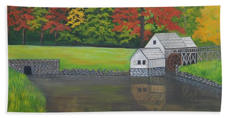 Landscape Beach Towel featuring the painting Mabry Grist Mill by Ruth Housley