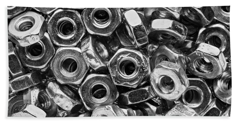 Nuts Beach Towel featuring the photograph Machine Screw Nuts Macro Horizontal by Steve Gadomski