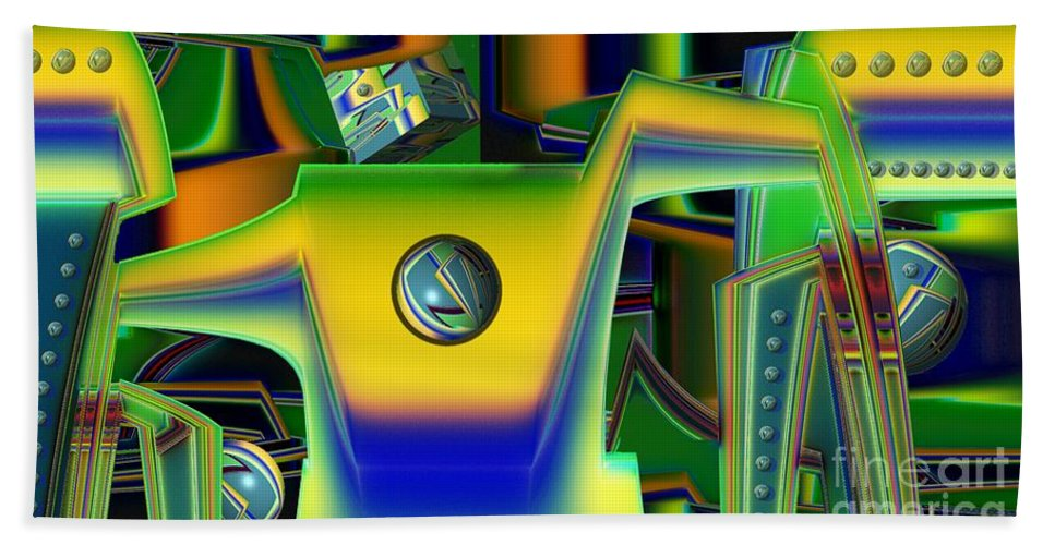 Assembly Line Beach Towel featuring the digital art Machinery by Ron Bissett