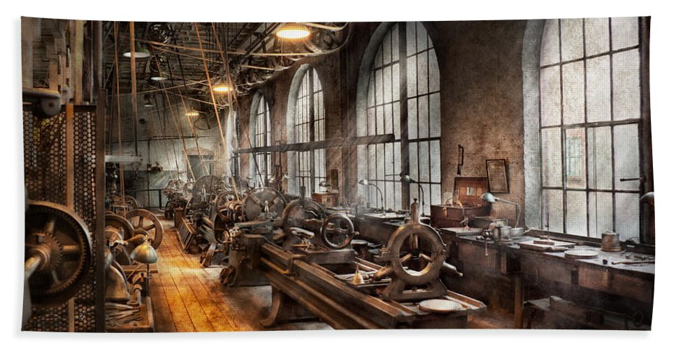 Hdr Beach Towel featuring the photograph Machinist - A Room Full Of Lathes by Mike Savad
