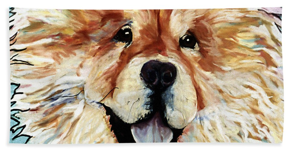 Chow Chow Beach Towel featuring the pastel Madame Chu Cho by Pat Saunders-White