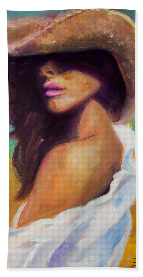 Girl Beach Sheet featuring the painting Made In The Shade by Jason Reinhardt
