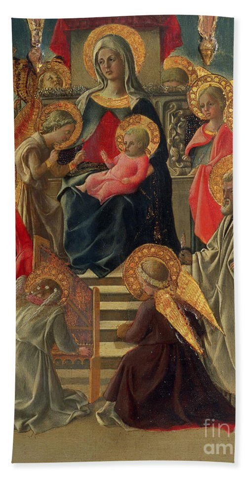 Madonna Beach Towel featuring the painting Madonna And Child Enthroned With Angels And Saints by Fra Filippo Lippi