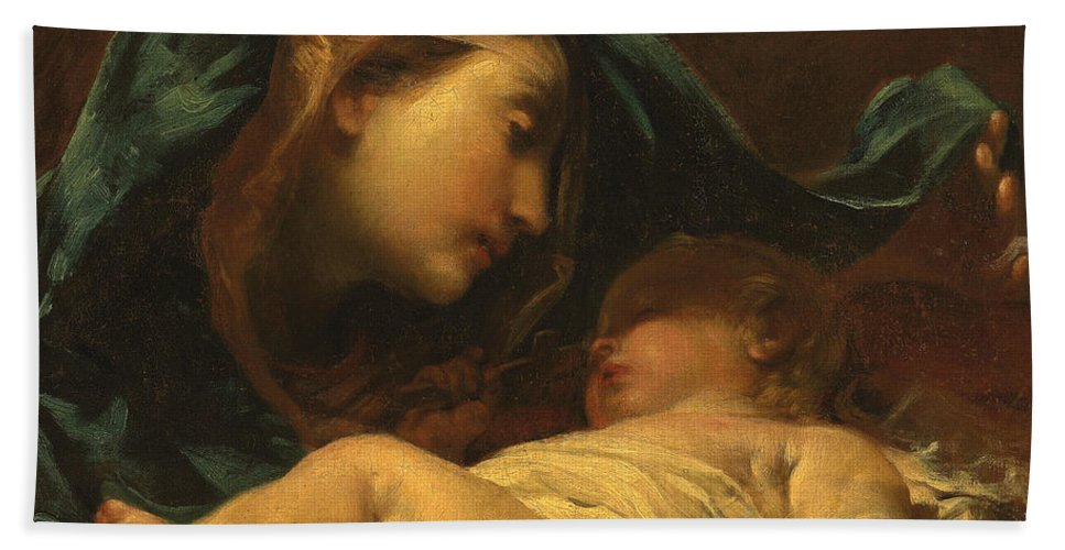 Madonna Beach Towel featuring the painting Madonna And Child by Giuseppe Maria Crespi