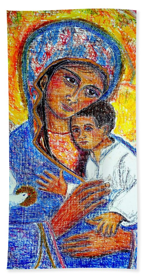 Virgin Mary Beach Towel featuring the painting Madonna And Child by Sarah Hornsby