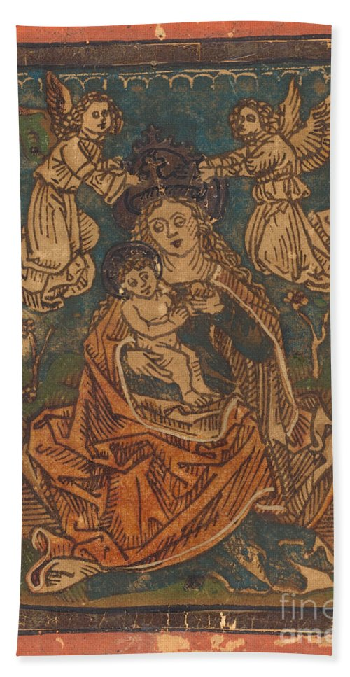 Beach Towel featuring the drawing Madonna And Child Seated On A Grassy Bank With Angels by German 15th Century