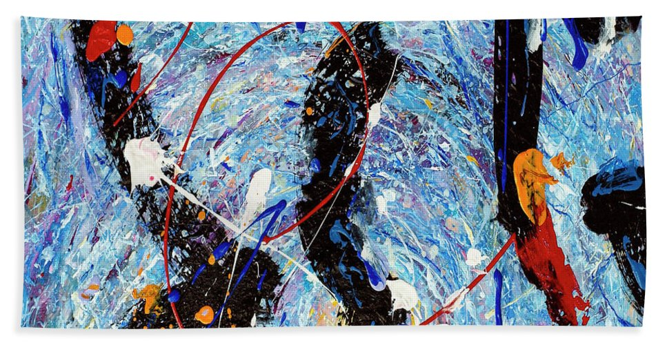 Abstract Beach Towel featuring the painting Maelstrom by Dominic Piperata