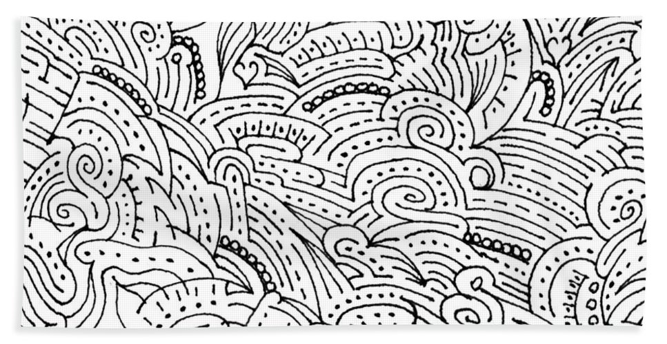 Mazes Beach Towel featuring the drawing Magdalena by Steven Natanson