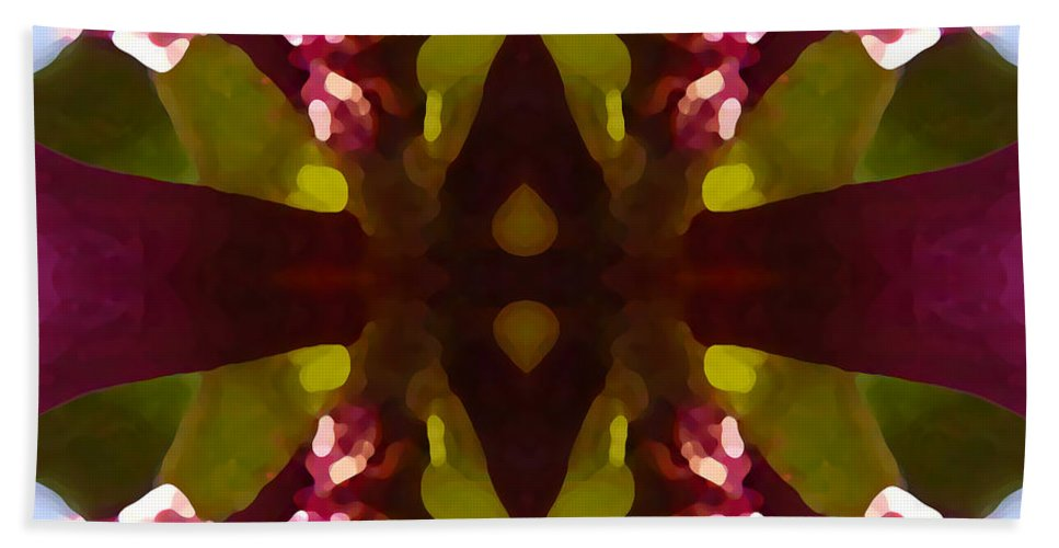 Abstract Painting Beach Towel featuring the digital art Magent Crystal Flower by Amy Vangsgard