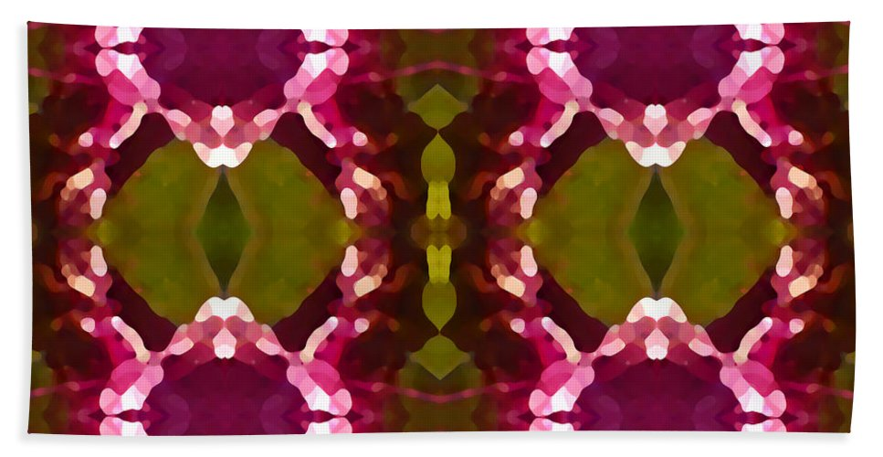 Abstract Painting Beach Sheet featuring the digital art Magenta Crystals Pattern 2 by Amy Vangsgard