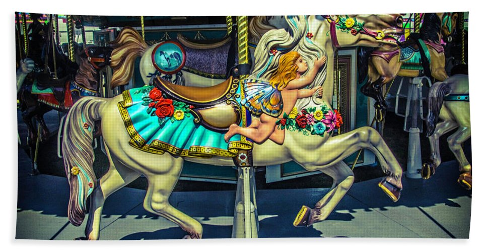 Carousel Beach Towel featuring the photograph Magic Carrsoul Horse by Garry Gay