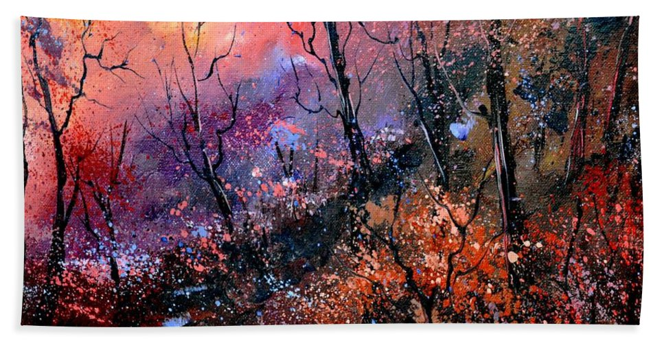 Forest Beach Towel featuring the painting Magic Forest by Pol Ledent