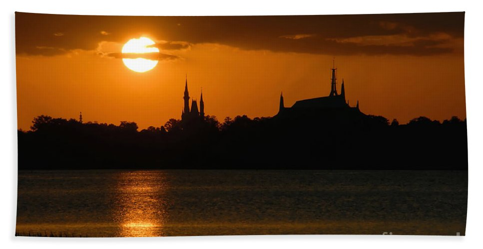 Disney World Beach Towel featuring the photograph Magic Kingdom Sunset by David Lee Thompson