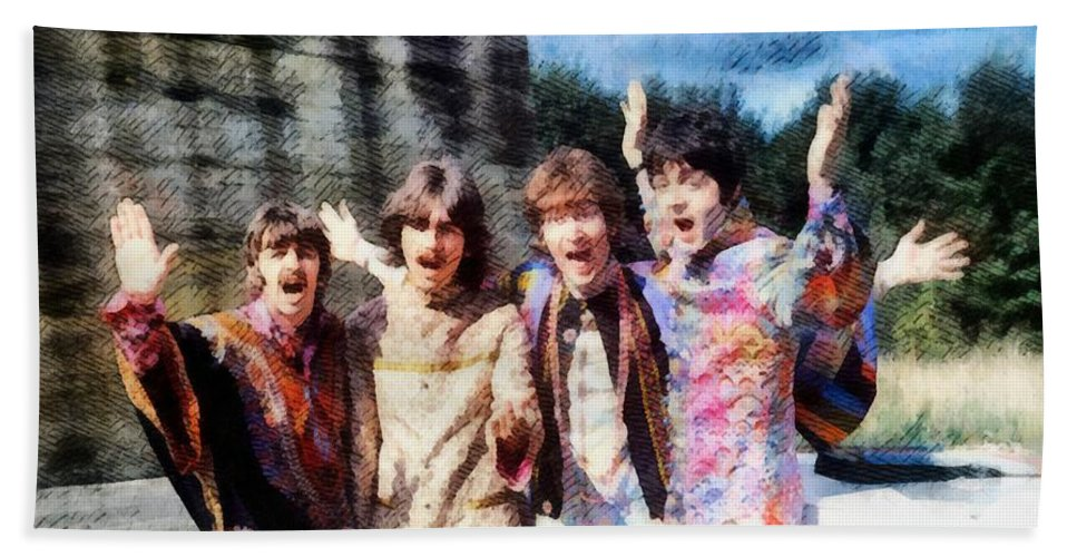 Hollywood Beach Towel featuring the painting Magical Mystery Tour, The Beatles by Esoterica Art Agency