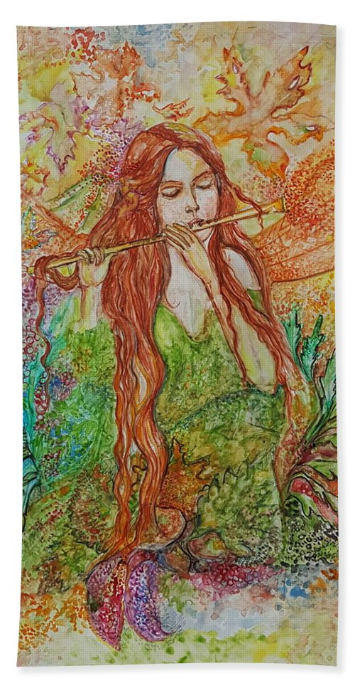 Song Beach Towel featuring the painting Magical Song Of Autumn by Rita Fetisov