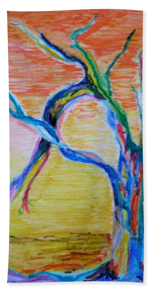 Abstract Painting Beach Towel featuring the painting Magical Tree by Suzanne Udell Levinger