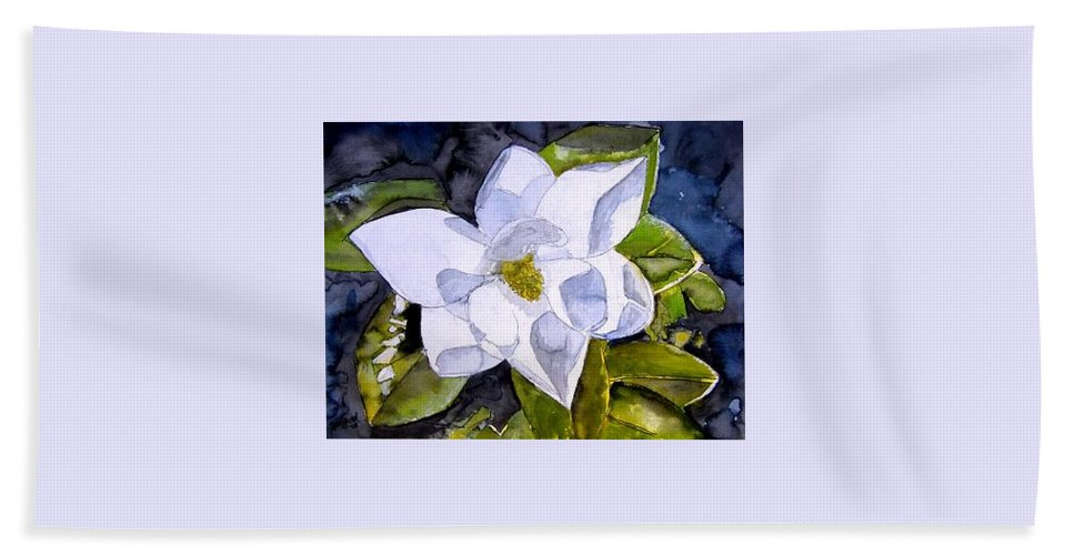 Magnolia Beach Towel featuring the painting Magnolia 2 Flower Art by Derek Mccrea