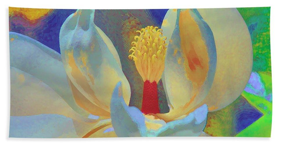 Magnolia Abstract Beach Towel featuring the photograph Magnolia Abstract by Deborah Benoit
