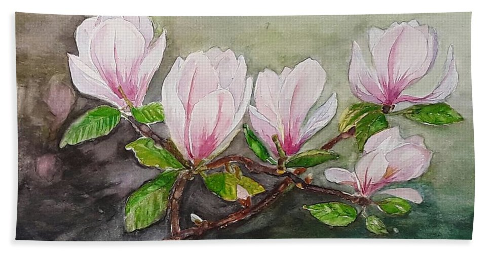 Flowers Beach Towel featuring the painting Magnolia Blossom - Painting by Veronica Rickard