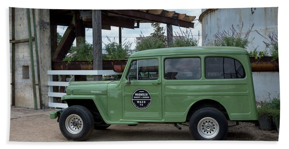 Magnolia Market Vintage Jeep Willys Beach Towel Featuring The Photograph Wagon