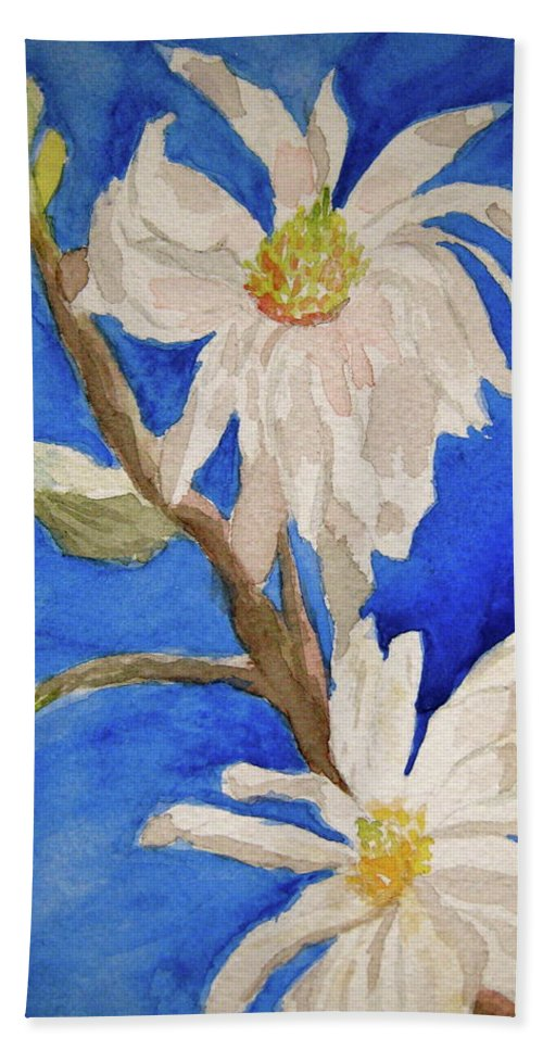 Magnolia Beach Towel featuring the painting Magnolia Stellata Blue Skies by Beverley Harper Tinsley