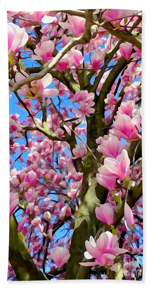Abstract Beach Towel featuring the photograph Magnolia Tree Beauty #3 by Ed Weidman