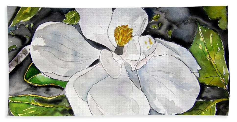 Magnolia Beach Towel featuring the painting Magnolia Tree Flower by Derek Mccrea