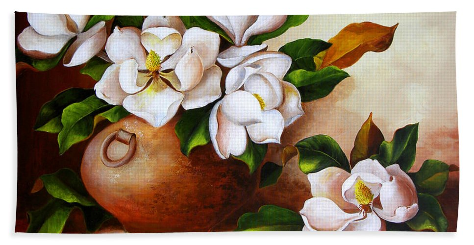 Clay Pot Beach Towel featuring the painting Magnolias In A Clay Pot by Dominica Alcantara