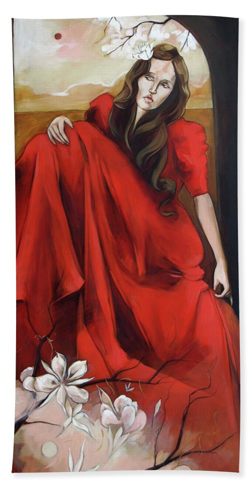 Magnolia Beach Towel featuring the painting Magnolia's Red Dress by Jacque Hudson