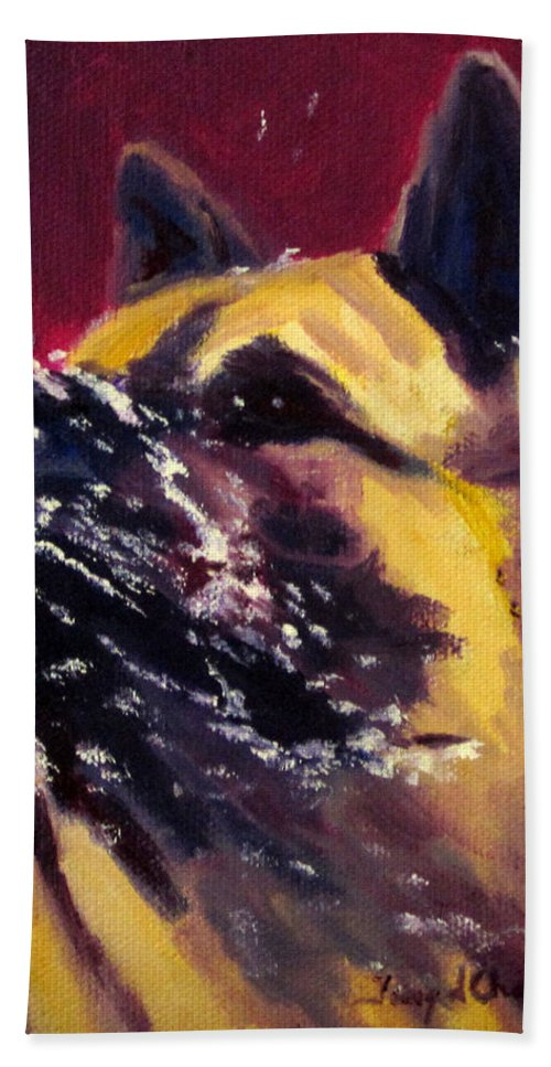Dog Akita Working Snow Animal Pet Water  Beach Towel featuring the painting Magnum It's A Snow Day by Terry Chacon
