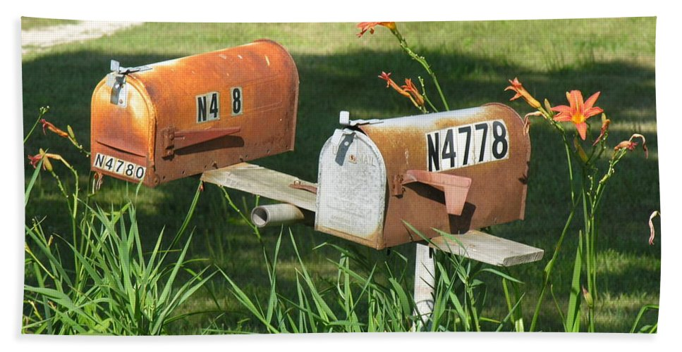 Mailboxes Beach Towel featuring the photograph Mail Boxes by Diane Greco-Lesser