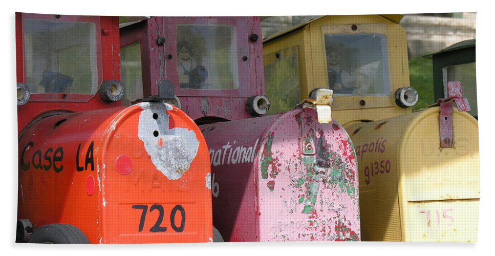 Mail Beach Towel featuring the photograph Mail Boxes Wi by Diane Greco-Lesser