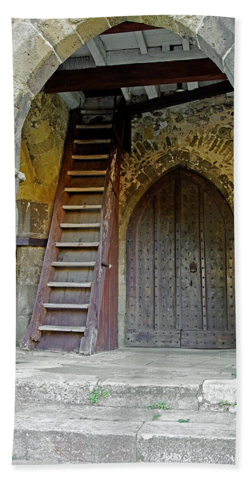 Isle Of Wight Beach Towel featuring the photograph Main Entrance To St Mary's Church At Brading by Rod Johnson