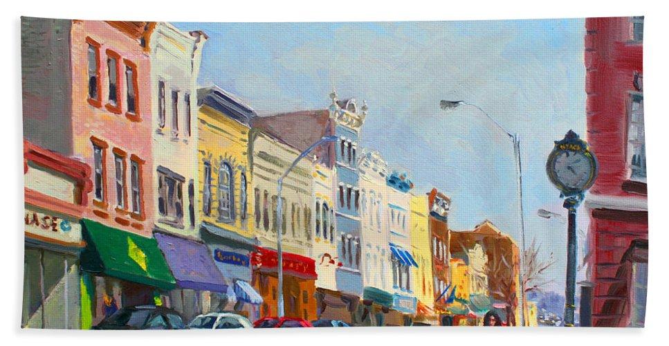 Main Street Beach Towel featuring the painting Main Street Nayck Ny by Ylli Haruni