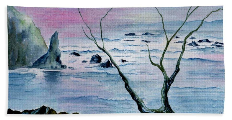 Watercolor Beach Sheet featuring the painting Maine Seawatch by Brenda Owen