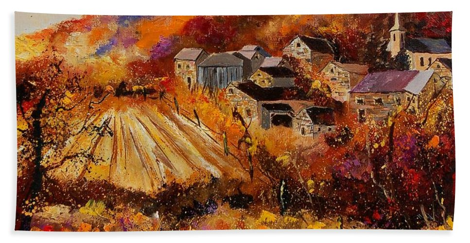 Poppies Beach Towel featuring the painting Maissin by Pol Ledent