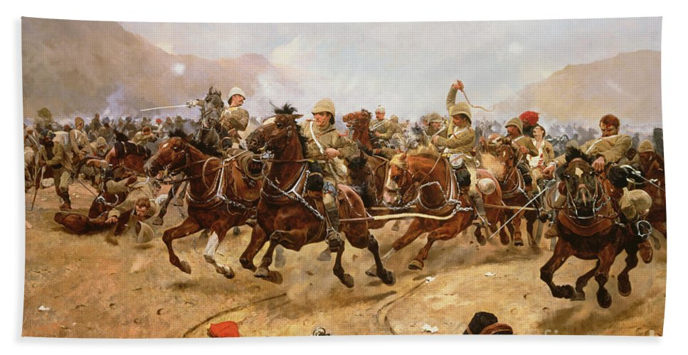 Maiwand 1880: Saving The Guns Beach Towel featuring the painting Maiwand by Richard Caton II Woodville